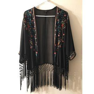 Embroidered Fringe Kimono